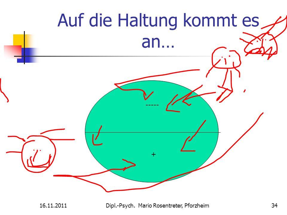 16.11.2011Dipl.-Psych. Mario Rosentreter, Pforzheim 34 Auf die Haltung kommt es an… ----- +