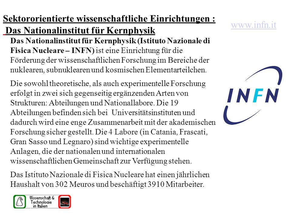 Sektororientierte wissenschaftliche Einrichtungen : Das Nationalinstitut für Kernphysik Das Nationalinstitut für Kernphysik (Istituto Nazionale di Fisica Nucleare – INFN) ist eine Einrichtung für die Förderung der wissenschaftlichen Forschung im Bereiche der nuklearen, subnuklearen und kosmischen Elementarteilchen.