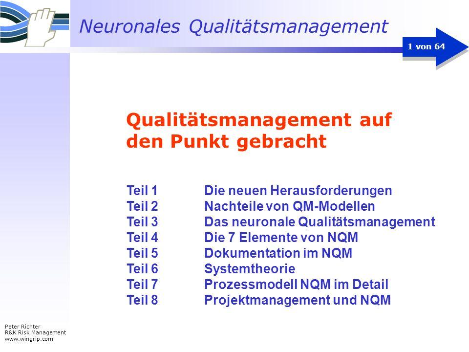 Neuronales Qualitätsmanagement Peter Richter R&K Risk Management www.wingrip.com 1 von 64 Teil 1 Die neuen Herausforderungen Teil 2 Nachteile von QM-M