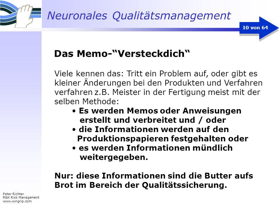 Neuronales Qualitätsmanagement Peter Richter R&K Risk Management www.wingrip.com 10 von 64 Viele kennen das: Tritt ein Problem auf, oder gibt es klein