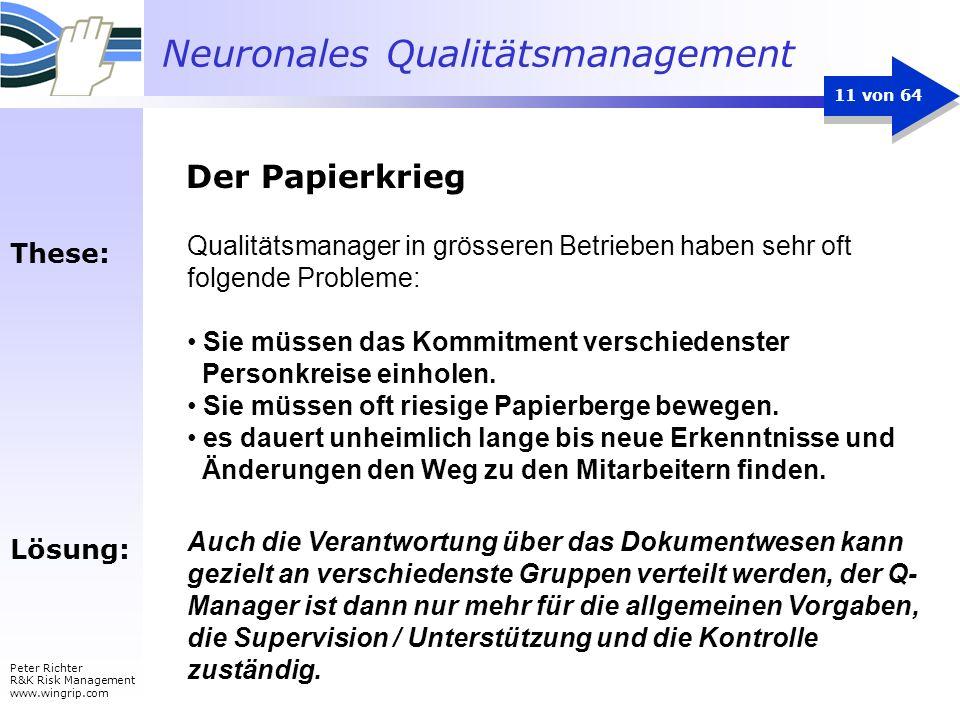 Neuronales Qualitätsmanagement Peter Richter R&K Risk Management www.wingrip.com 11 von 64 Qualitätsmanager in grösseren Betrieben haben sehr oft folg
