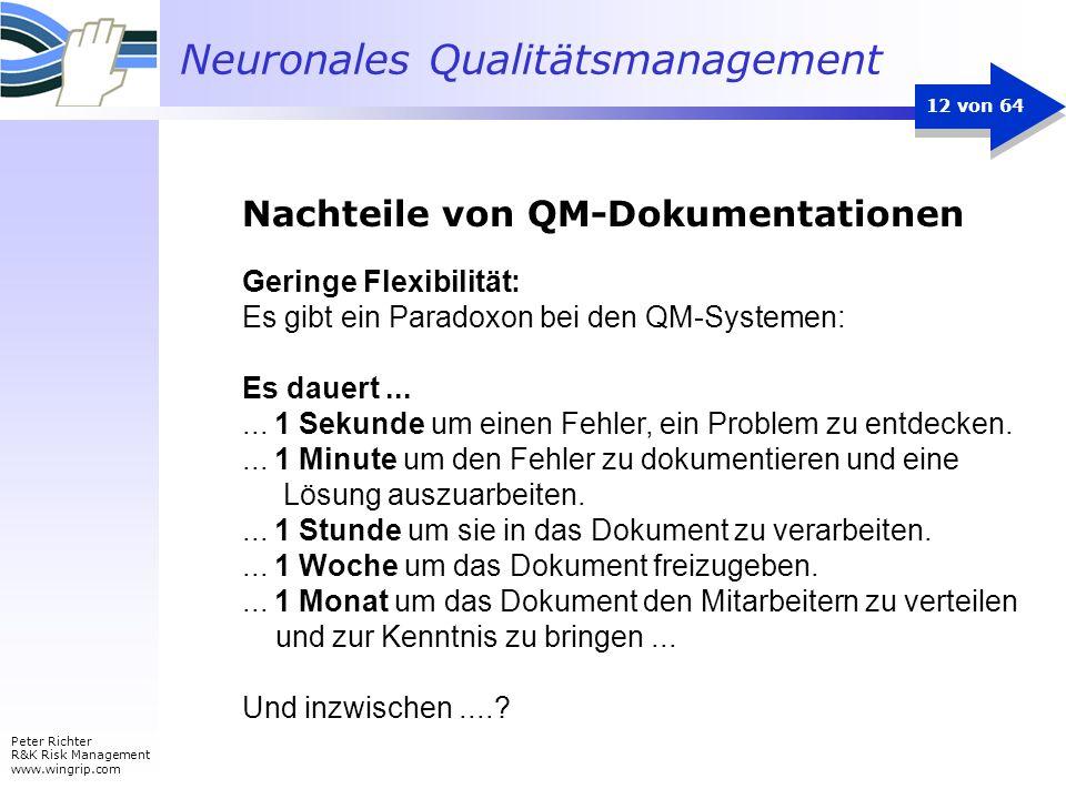 Neuronales Qualitätsmanagement Peter Richter R&K Risk Management www.wingrip.com 12 von 64 Geringe Flexibilität: Es gibt ein Paradoxon bei den QM-Syst