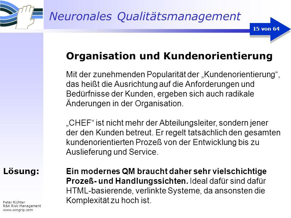 Neuronales Qualitätsmanagement Peter Richter R&K Risk Management www.wingrip.com 15 von 64 Mit der zunehmenden Popularität der Kundenorientierung, das