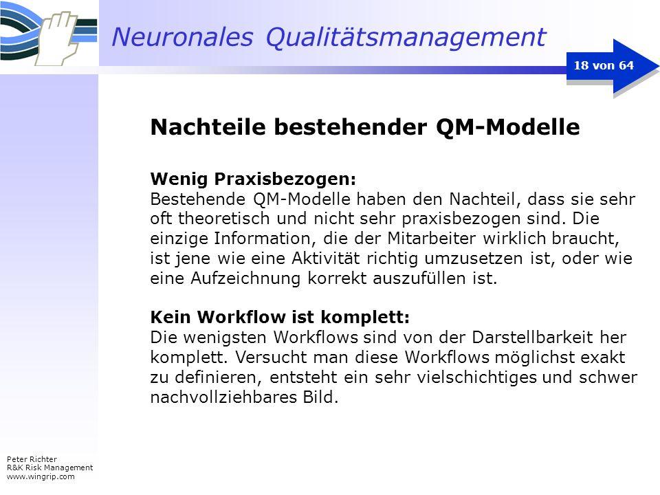 Neuronales Qualitätsmanagement Peter Richter R&K Risk Management www.wingrip.com 18 von 64 Wenig Praxisbezogen: Bestehende QM-Modelle haben den Nachte