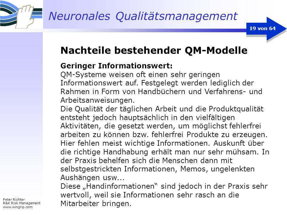 Neuronales Qualitätsmanagement Peter Richter R&K Risk Management www.wingrip.com 19 von 64 Geringer Informationswert: QM-Systeme weisen oft einen sehr