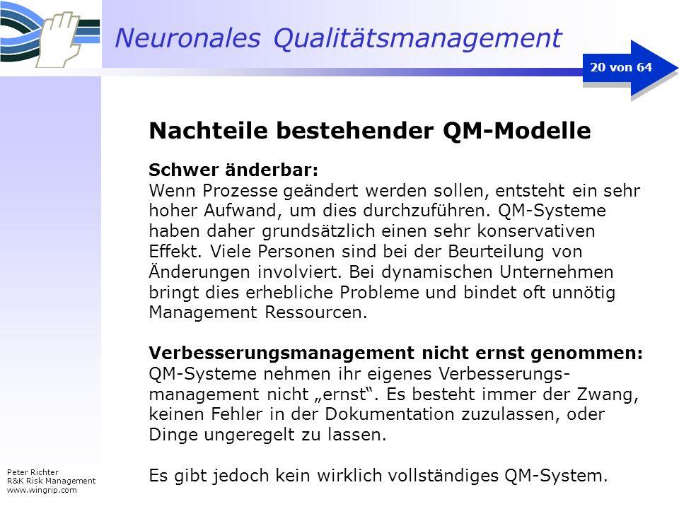 Neuronales Qualitätsmanagement Peter Richter R&K Risk Management www.wingrip.com 20 von 64 Schwer änderbar: Wenn Prozesse geändert werden sollen, ents