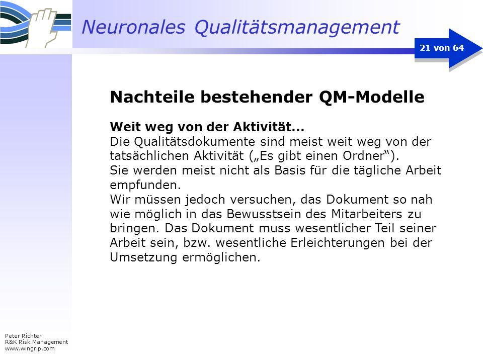 Neuronales Qualitätsmanagement Peter Richter R&K Risk Management www.wingrip.com 21 von 64 Weit weg von der Aktivität... Die Qualitätsdokumente sind m