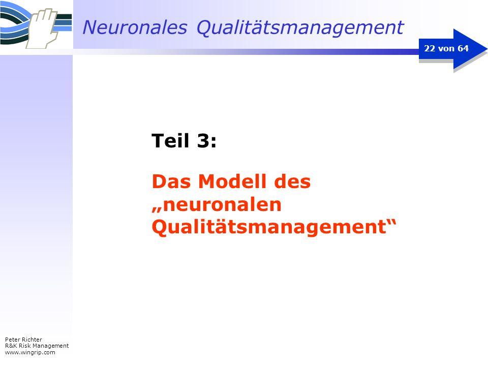 Neuronales Qualitätsmanagement Peter Richter R&K Risk Management www.wingrip.com 22 von 64 Teil 3: Das Modell des neuronalen Qualitätsmanagement