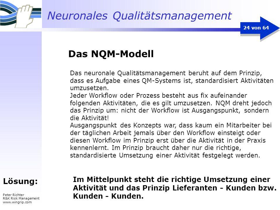 Neuronales Qualitätsmanagement Peter Richter R&K Risk Management www.wingrip.com 24 von 64 Lösung: Das neuronale Qualitätsmanagement beruht auf dem Pr