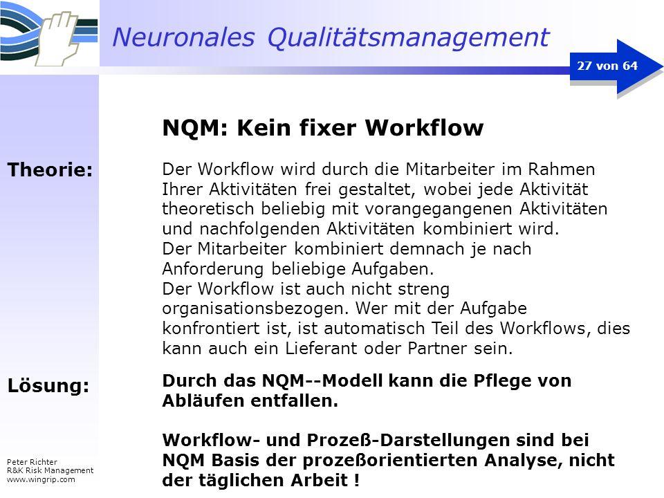 Neuronales Qualitätsmanagement Peter Richter R&K Risk Management www.wingrip.com 27 von 64 Theorie: Lösung: Der Workflow wird durch die Mitarbeiter im