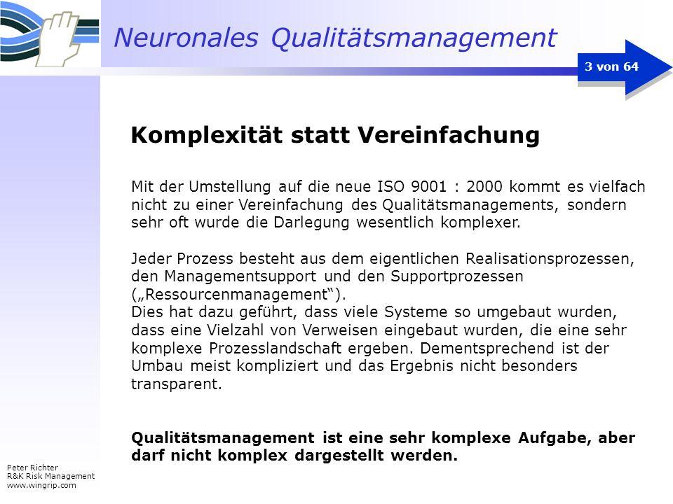 Neuronales Qualitätsmanagement Peter Richter R&K Risk Management www.wingrip.com 3 von 64 Mit der Umstellung auf die neue ISO 9001 : 2000 kommt es vie