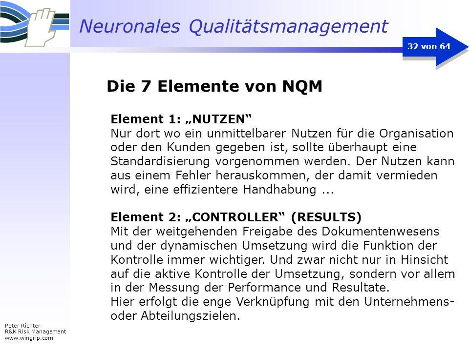 Neuronales Qualitätsmanagement Peter Richter R&K Risk Management www.wingrip.com 32 von 64 Element 1: NUTZEN Nur dort wo ein unmittelbarer Nutzen für