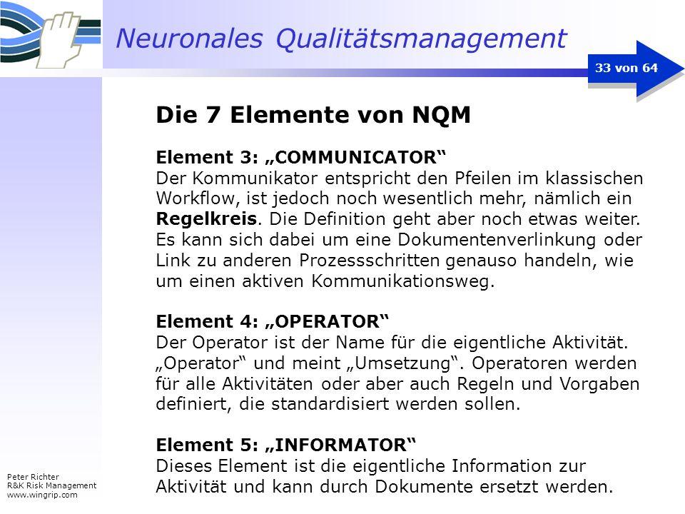 Neuronales Qualitätsmanagement Peter Richter R&K Risk Management www.wingrip.com 33 von 64 Element 3: COMMUNICATOR Der Kommunikator entspricht den Pfe