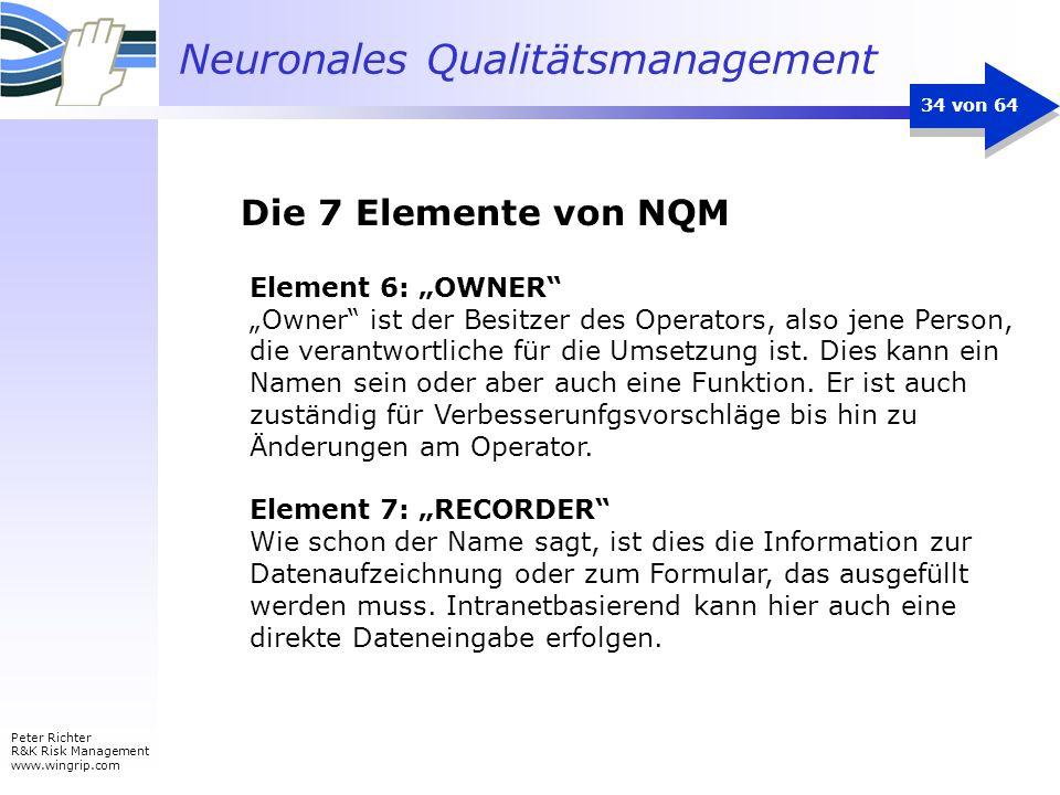 Neuronales Qualitätsmanagement Peter Richter R&K Risk Management www.wingrip.com 34 von 64 Element 6: OWNER Owner ist der Besitzer des Operators, also