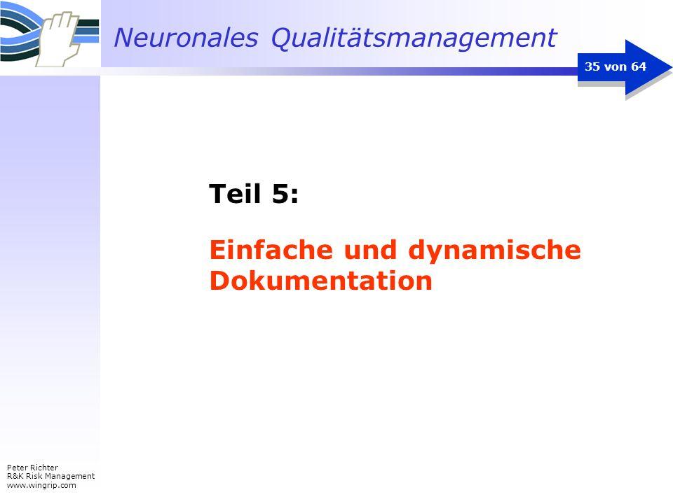 Neuronales Qualitätsmanagement Peter Richter R&K Risk Management www.wingrip.com 35 von 64 Teil 5: Einfache und dynamische Dokumentation