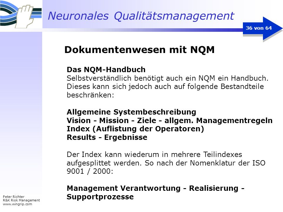 Neuronales Qualitätsmanagement Peter Richter R&K Risk Management www.wingrip.com 36 von 64 Das NQM-Handbuch Selbstverständlich benötigt auch ein NQM e