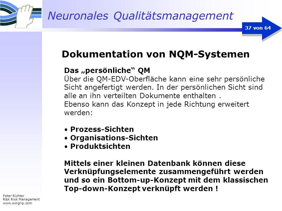 Neuronales Qualitätsmanagement Peter Richter R&K Risk Management www.wingrip.com 37 von 64 Das persönliche QM Über die QM-EDV-Oberfläche kann eine seh