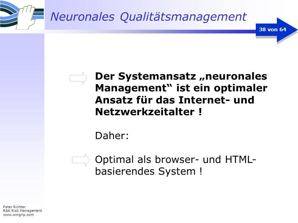Neuronales Qualitätsmanagement Peter Richter R&K Risk Management www.wingrip.com 38 von 64 Der Systemansatz neuronales Management ist ein optimaler An