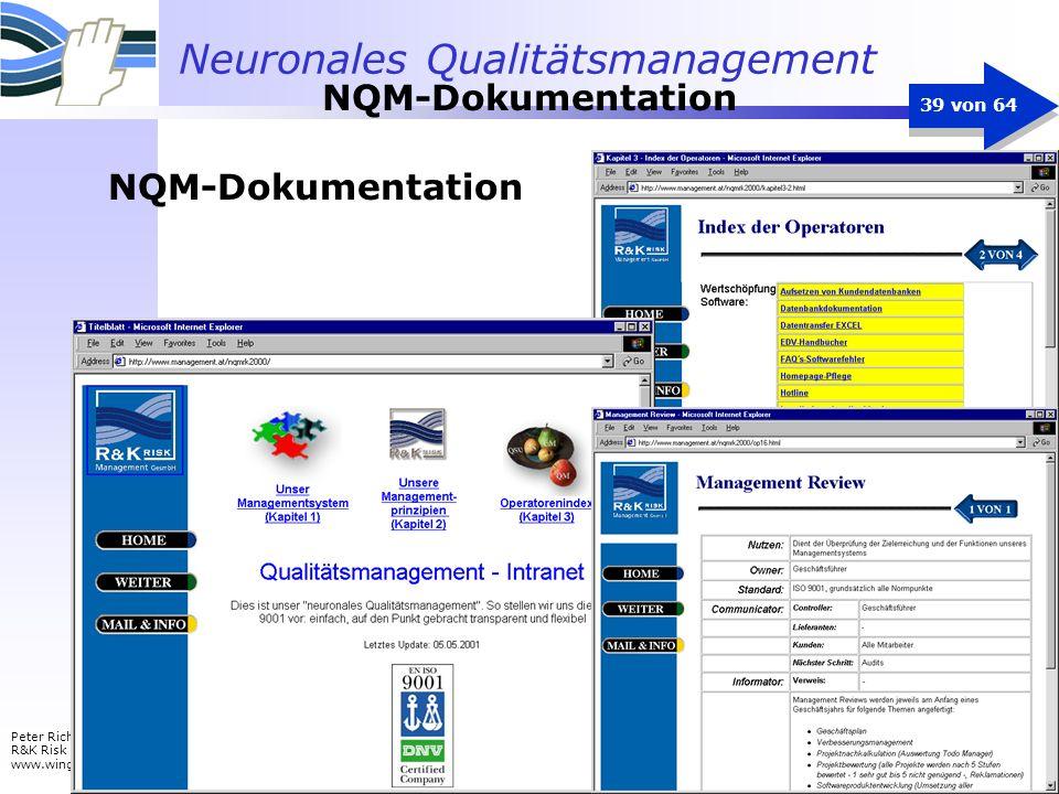 Neuronales Qualitätsmanagement Peter Richter R&K Risk Management www.wingrip.com 39 von 64 NQM-Dokumentation