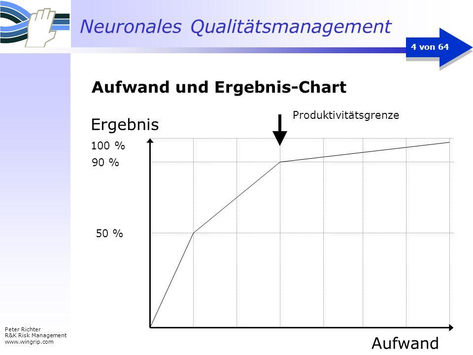 Neuronales Qualitätsmanagement Peter Richter R&K Risk Management www.wingrip.com 4 von 64 Ergebnis 100 % 90 % 50 % Aufwand Produktivitätsgrenze Aufwan