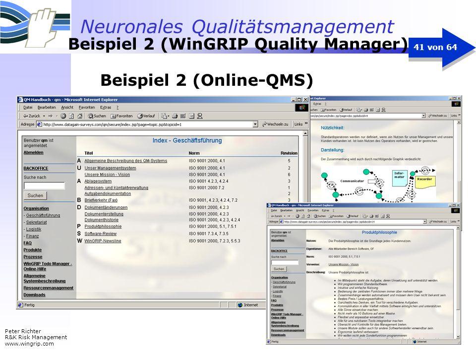 Neuronales Qualitätsmanagement Peter Richter R&K Risk Management www.wingrip.com 41 von 64 Beispiel 2 (Online-QMS) Beispiel 2 (WinGRIP Quality Manager