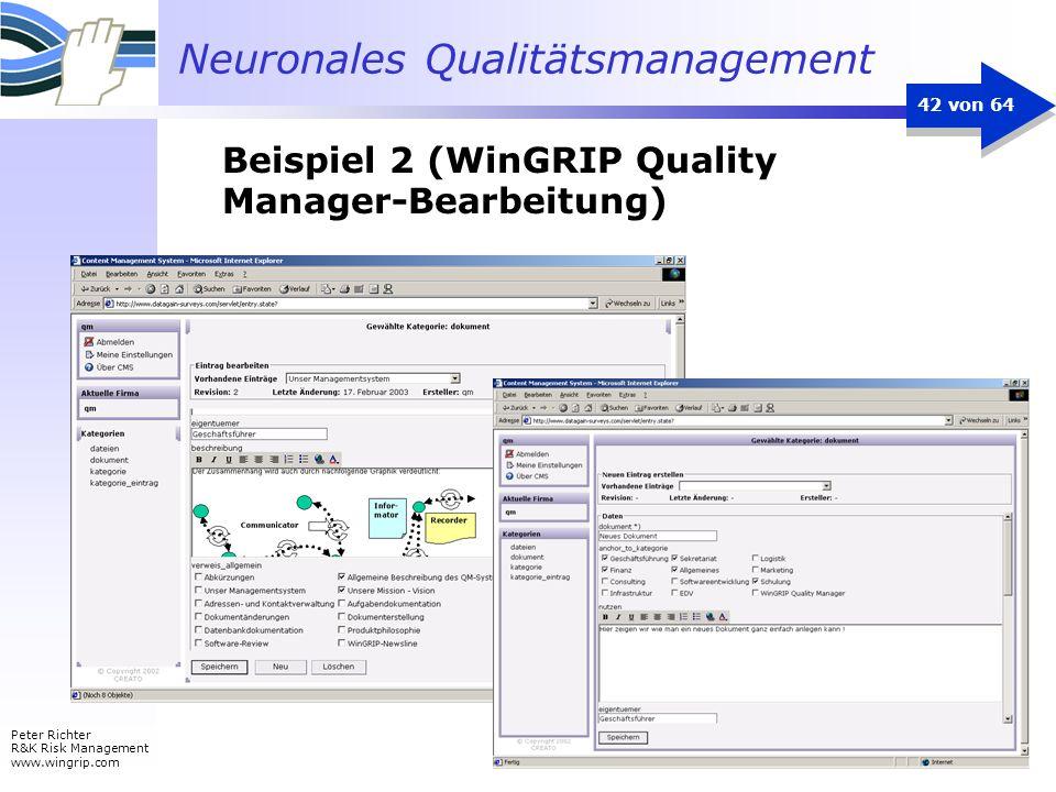 Neuronales Qualitätsmanagement Peter Richter R&K Risk Management www.wingrip.com 42 von 64 Beispiel 2 (WinGRIP Quality Manager-Bearbeitung)