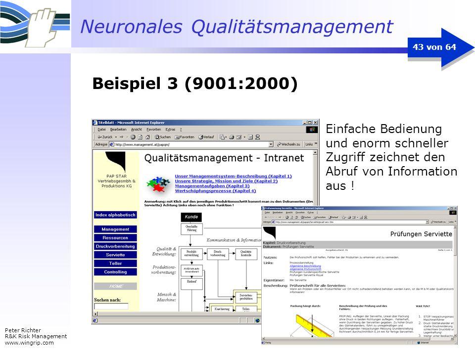 Neuronales Qualitätsmanagement Peter Richter R&K Risk Management www.wingrip.com 43 von 64 Einfache Bedienung und enorm schneller Zugriff zeichnet den