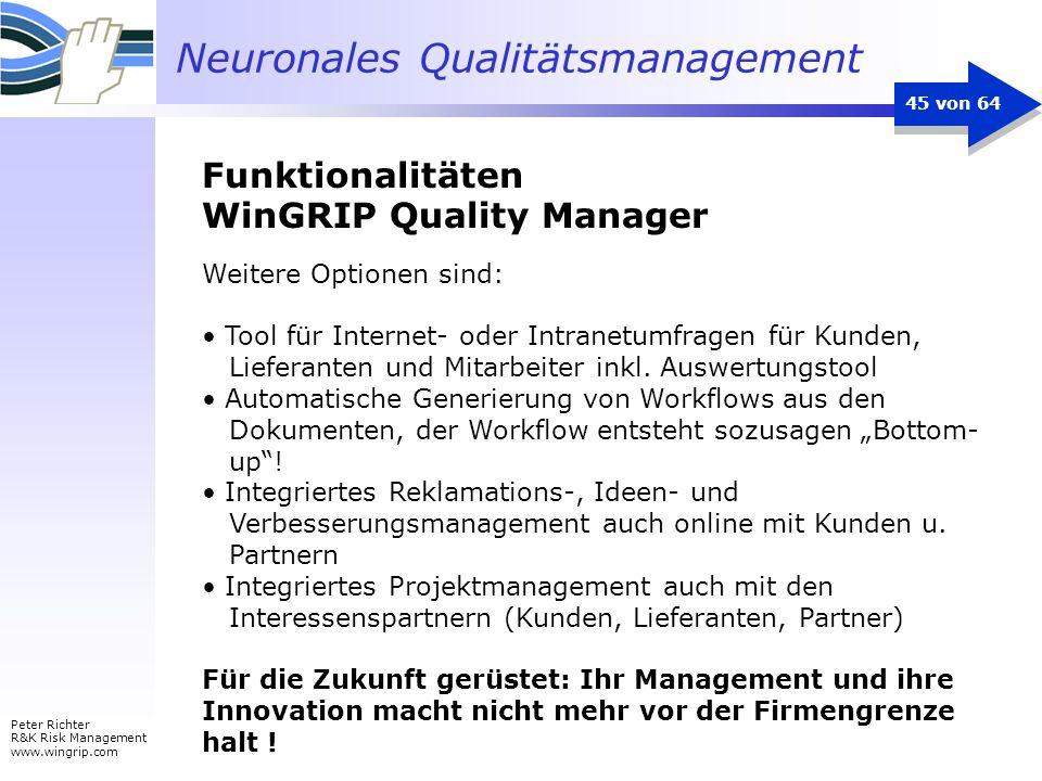 Neuronales Qualitätsmanagement Peter Richter R&K Risk Management www.wingrip.com 45 von 64 Weitere Optionen sind: Tool für Internet- oder Intranetumfr