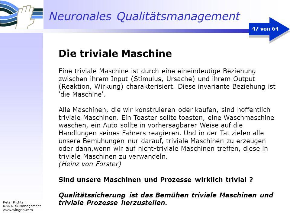 Neuronales Qualitätsmanagement Peter Richter R&K Risk Management www.wingrip.com 47 von 64 Eine triviale Maschine ist durch eine eineindeutige Beziehu