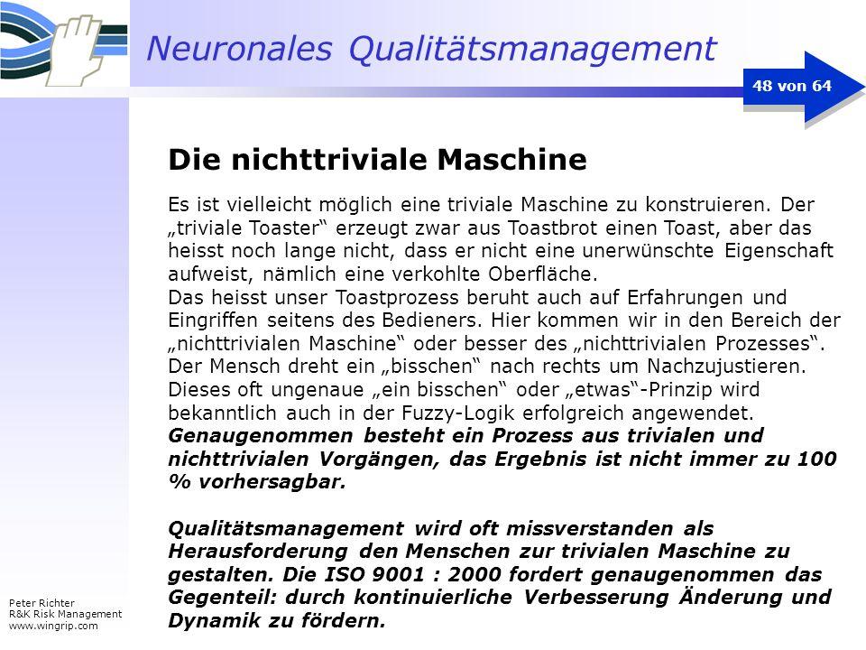 Neuronales Qualitätsmanagement Peter Richter R&K Risk Management www.wingrip.com 48 von 64 Es ist vielleicht möglich eine triviale Maschine zu konstru