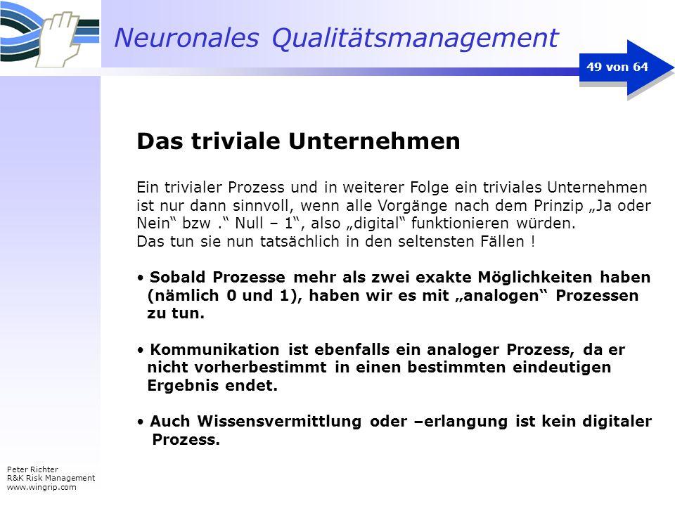 Neuronales Qualitätsmanagement Peter Richter R&K Risk Management www.wingrip.com 49 von 64 Ein trivialer Prozess und in weiterer Folge ein triviales U