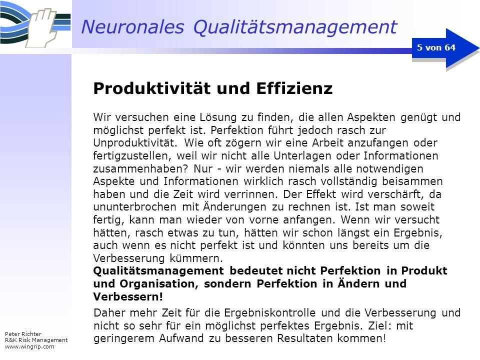 Neuronales Qualitätsmanagement Peter Richter R&K Risk Management www.wingrip.com 5 von 64 Wir versuchen eine Lösung zu finden, die allen Aspekten genü