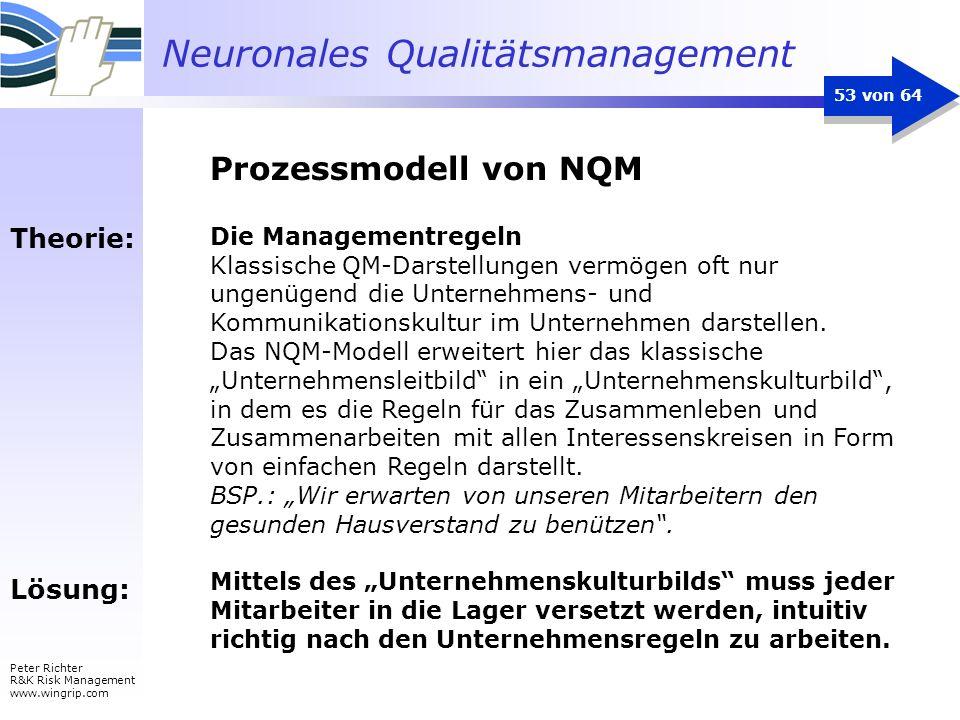 Neuronales Qualitätsmanagement Peter Richter R&K Risk Management www.wingrip.com 53 von 64 Theorie: Lösung: Die Managementregeln Klassische QM-Darstel
