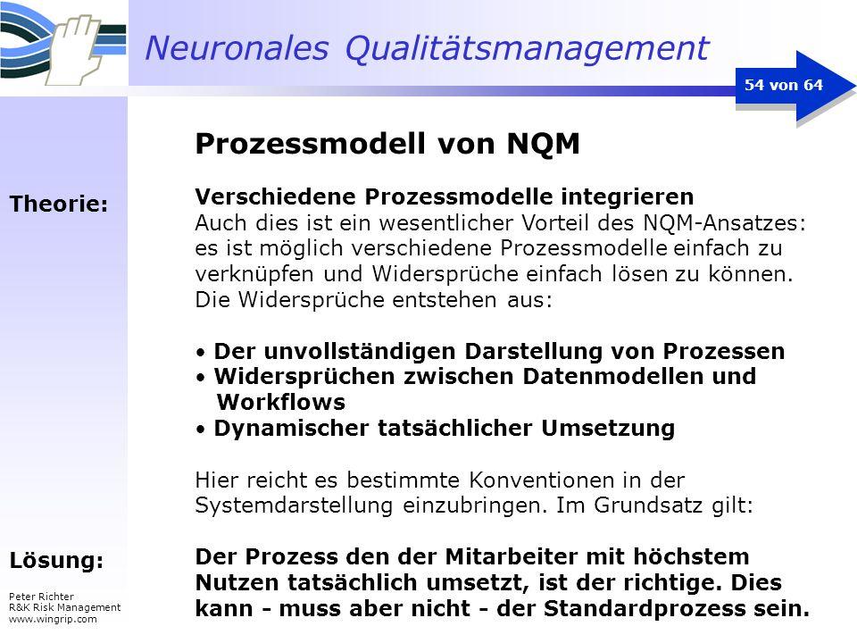 Neuronales Qualitätsmanagement Peter Richter R&K Risk Management www.wingrip.com 54 von 64 Theorie: Lösung: Verschiedene Prozessmodelle integrieren Au