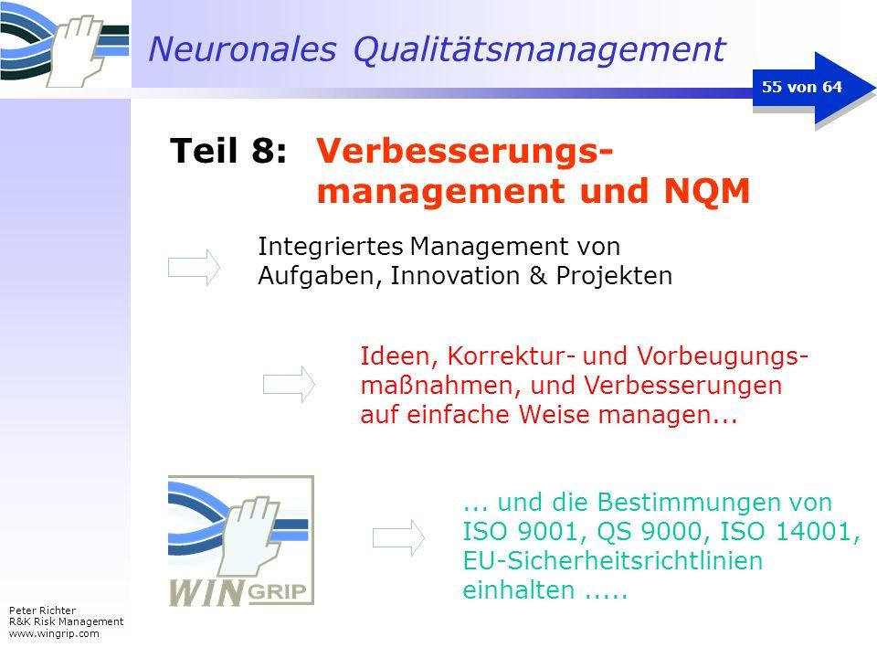 Neuronales Qualitätsmanagement Peter Richter R&K Risk Management www.wingrip.com 55 von 64 Ideen, Korrektur- und Vorbeugungs- maßnahmen, und Verbesser