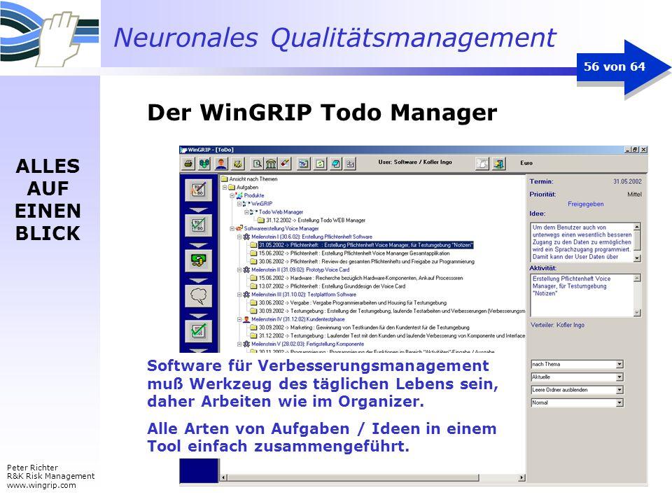 Neuronales Qualitätsmanagement Peter Richter R&K Risk Management www.wingrip.com 56 von 64 ALLES AUF EINEN BLICK Software für Verbesserungsmanagement