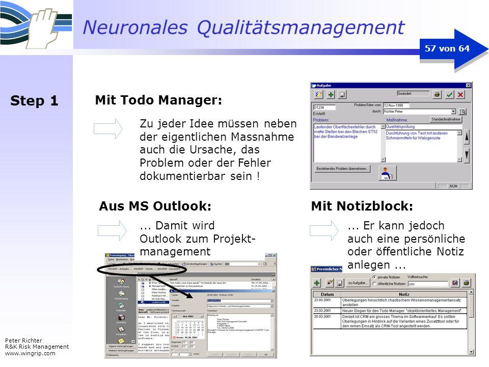 Neuronales Qualitätsmanagement Peter Richter R&K Risk Management www.wingrip.com 57 von 64 Mit Todo Manager: Zu jeder Idee müssen neben der eigentlich
