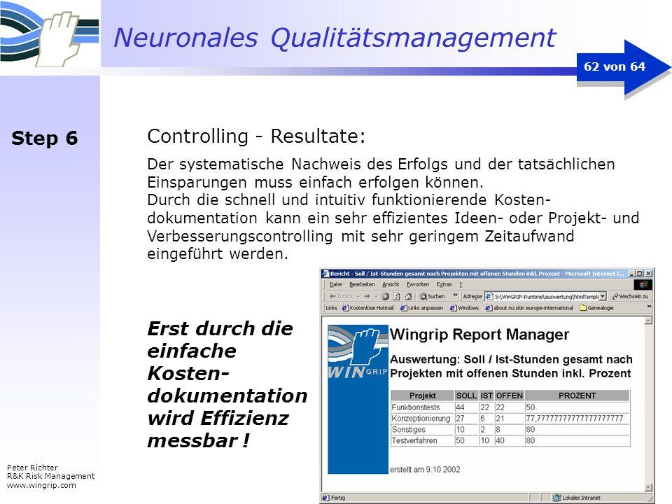 Neuronales Qualitätsmanagement Peter Richter R&K Risk Management www.wingrip.com 62 von 64 Der systematische Nachweis des Erfolgs und der tatsächliche