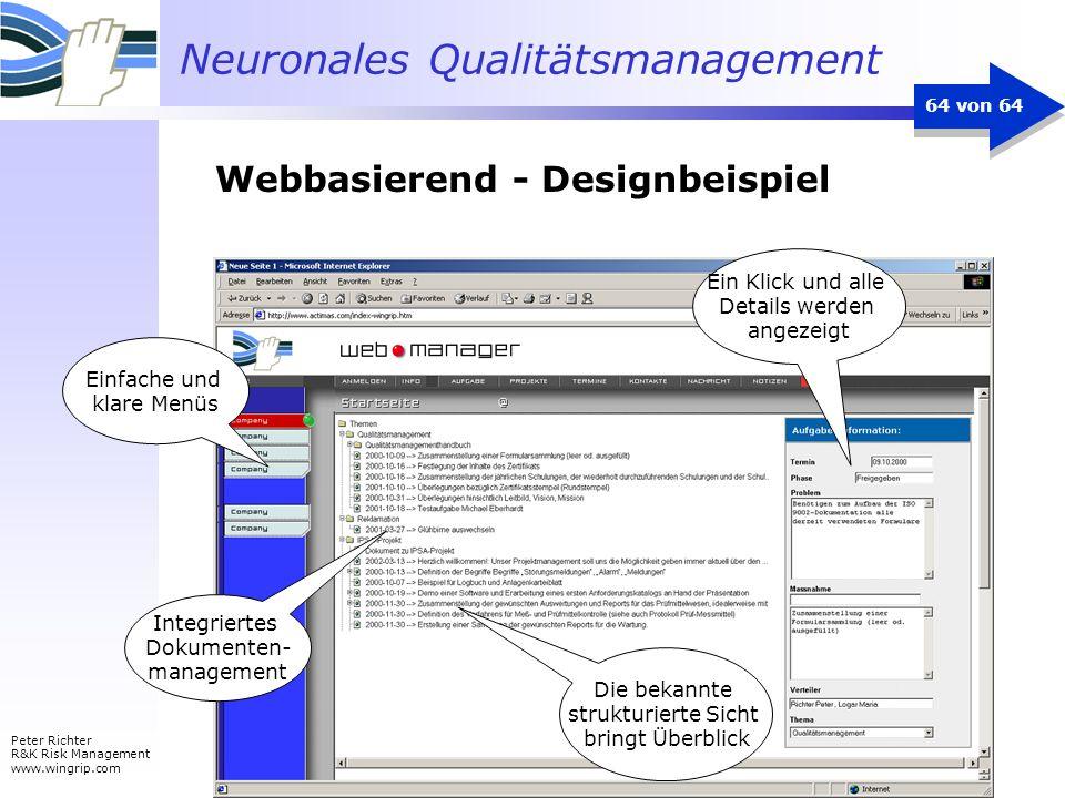 Neuronales Qualitätsmanagement Peter Richter R&K Risk Management www.wingrip.com 64 von 64 Integriertes Dokumenten- management Ein Klick und alle Deta