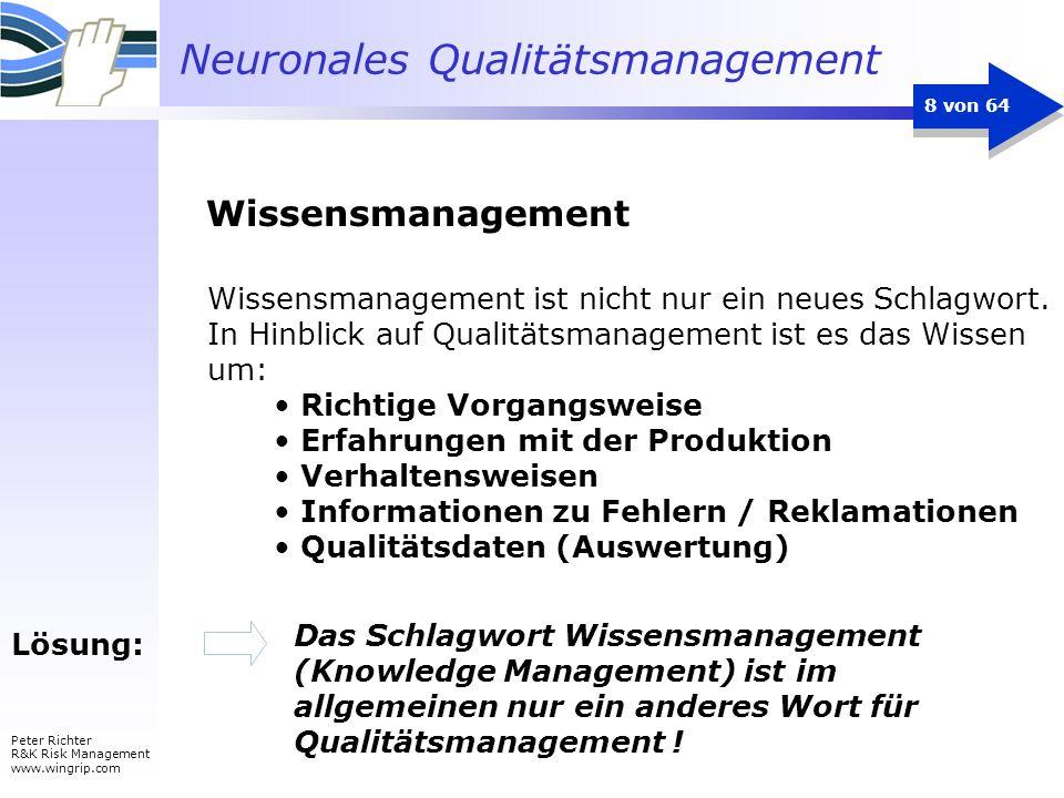 Neuronales Qualitätsmanagement Peter Richter R&K Risk Management www.wingrip.com 8 von 64 Lösung: Das Schlagwort Wissensmanagement (Knowledge Manageme