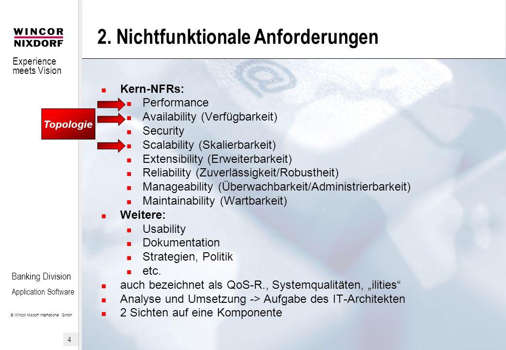 Experience meets Vision © Wincor Nixdorf International GmbH 5 Banking Division Application Software 2.1 Topologiebezogene NFR Performance Kennzahlen (TX/s, Antwortzeiten, etc.) Einflussfaktoren (HW, BS, SW, etc.) Scalability (Skalierbarkeit) vertikal horizontal Availability (Verfügbarkeit) Kennzahlen (%) High-Availability, Fehlertoleranz, 24x7 Keine SPOFs durch Redundanz.