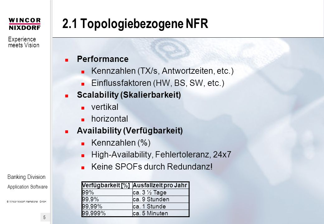 Experience meets Vision © Wincor Nixdorf International GmbH 5 Banking Division Application Software 2.1 Topologiebezogene NFR Performance Kennzahlen (