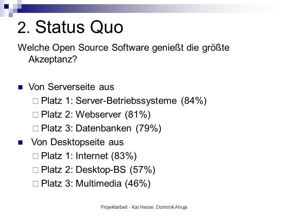 Projektarbeit - Kai Hesse, Dominik Ahuja 2. Status Quo Welche Open Source Software genießt die größte Akzeptanz? Von Serverseite aus Platz 1: Server-B