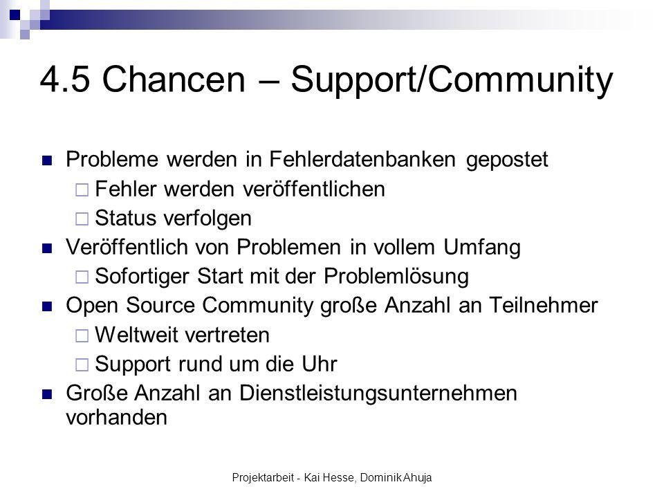 Projektarbeit - Kai Hesse, Dominik Ahuja 4.5 Chancen – Support/Community Probleme werden in Fehlerdatenbanken gepostet Fehler werden veröffentlichen S