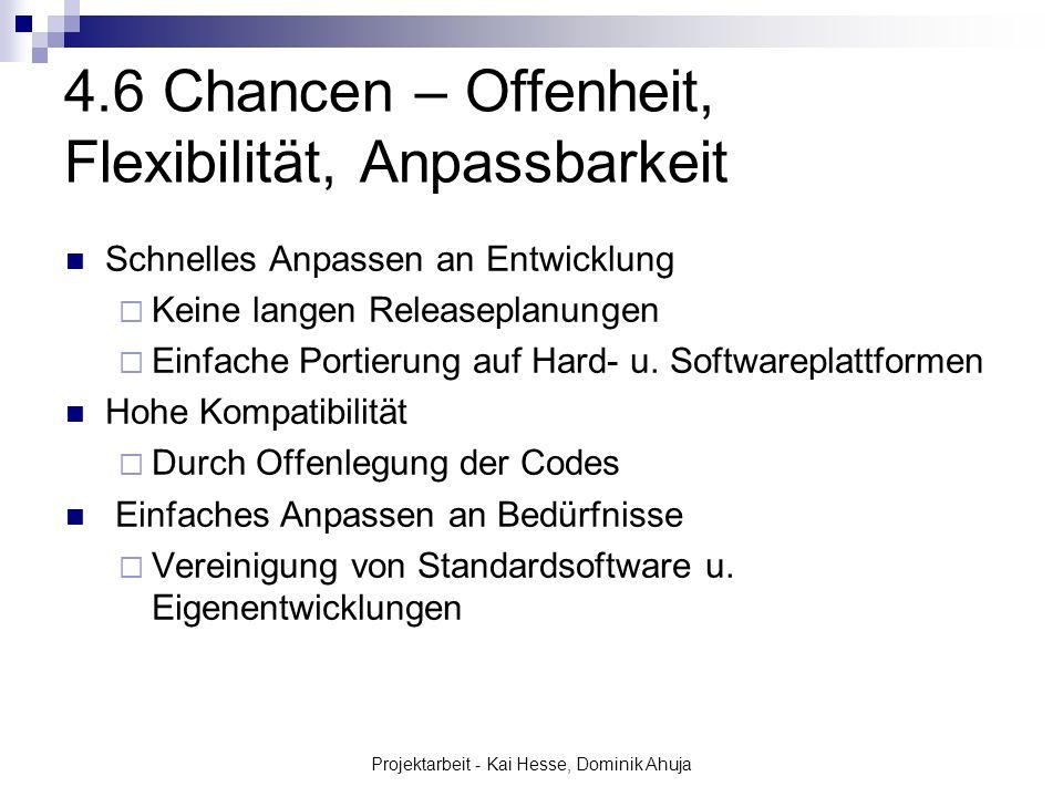 Projektarbeit - Kai Hesse, Dominik Ahuja 4.6 Chancen – Offenheit, Flexibilität, Anpassbarkeit Schnelles Anpassen an Entwicklung Keine langen Releasepl