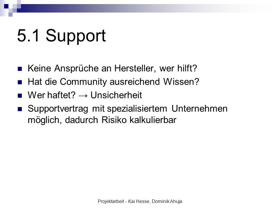 Projektarbeit - Kai Hesse, Dominik Ahuja 5.1 Support Keine Ansprüche an Hersteller, wer hilft? Hat die Community ausreichend Wissen? Wer haftet? Unsic