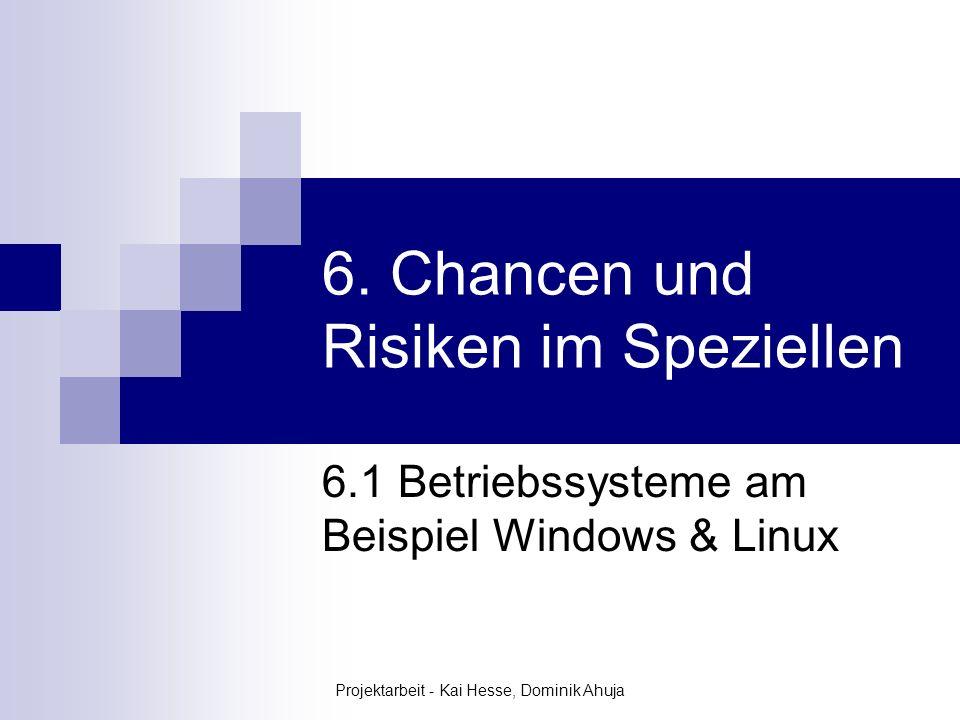 Projektarbeit - Kai Hesse, Dominik Ahuja 6. Chancen und Risiken im Speziellen 6.1 Betriebssysteme am Beispiel Windows & Linux
