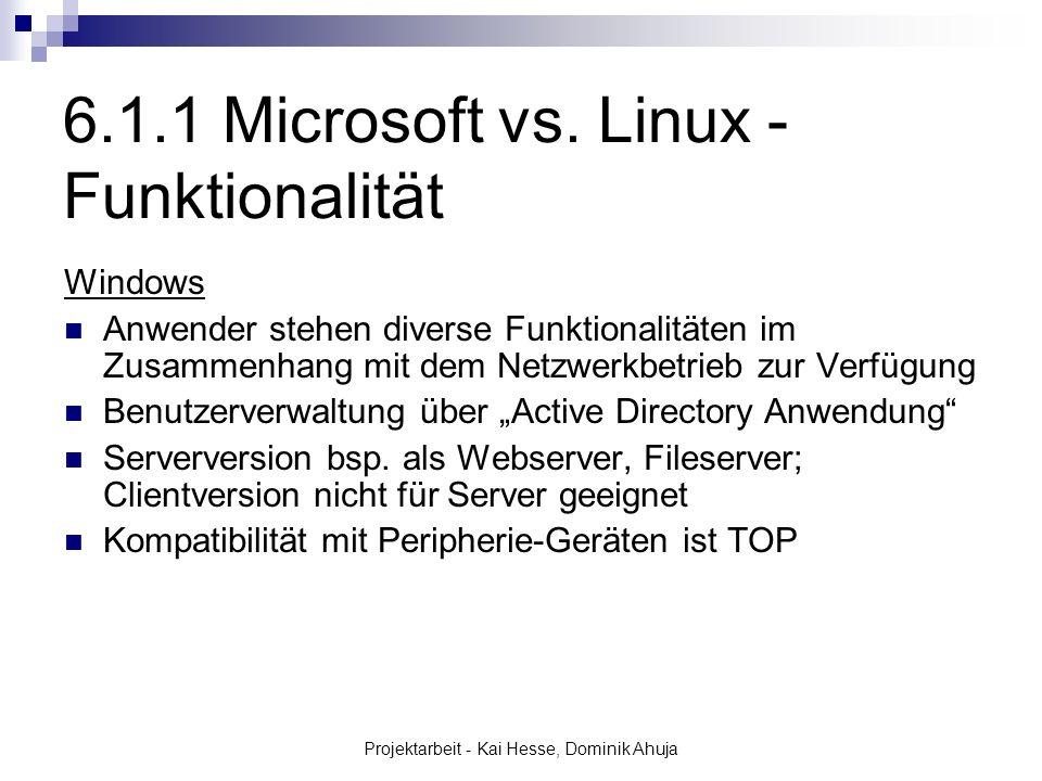 Projektarbeit - Kai Hesse, Dominik Ahuja Windows Anwender stehen diverse Funktionalitäten im Zusammenhang mit dem Netzwerkbetrieb zur Verfügung Benutz
