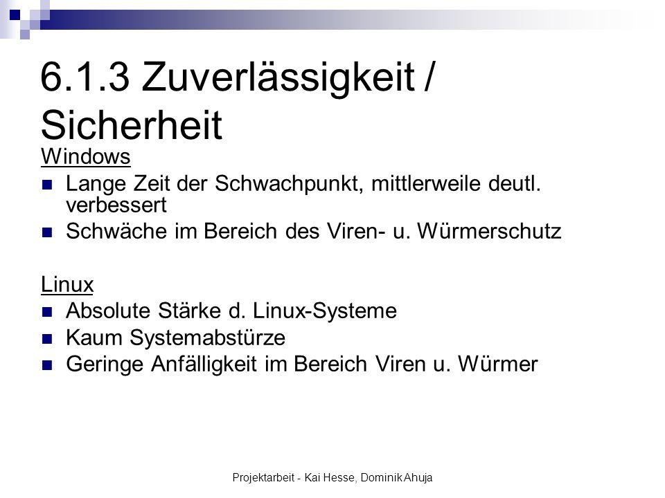 Projektarbeit - Kai Hesse, Dominik Ahuja Windows Lange Zeit der Schwachpunkt, mittlerweile deutl. verbessert Schwäche im Bereich des Viren- u. Würmers