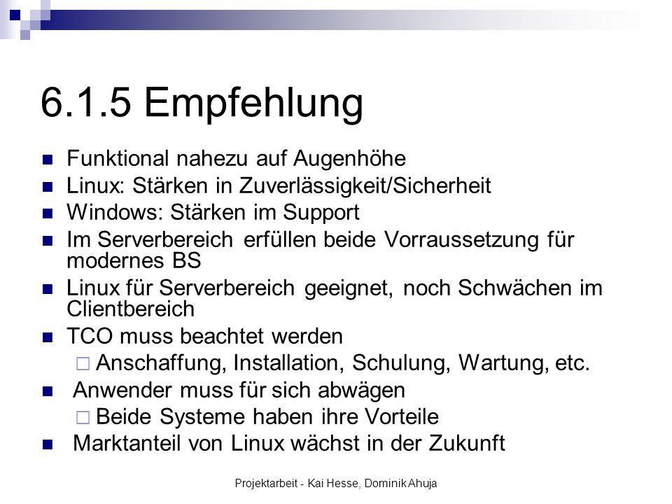 Projektarbeit - Kai Hesse, Dominik Ahuja Funktional nahezu auf Augenhöhe Linux: Stärken in Zuverlässigkeit/Sicherheit Windows: Stärken im Support Im S